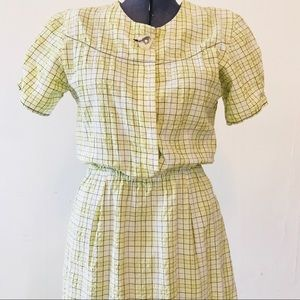 Vintage Mid-century day dress yellow plaid M